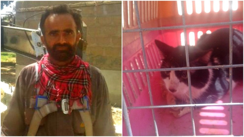 Heroic K-Electric lineman Sikander Baloch and the cat he rescued from a 110ft deep well
