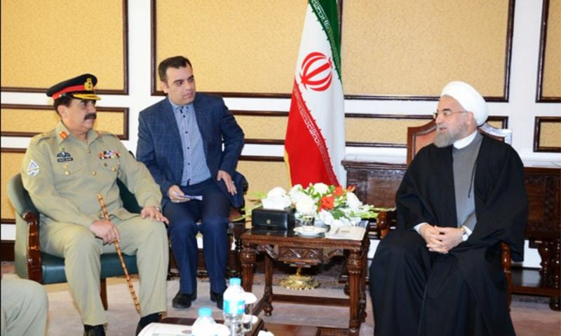 COAS Gen Raheel discussed matters of regional security with Iranian President Hassan Rouhani.—Photo: ISPR