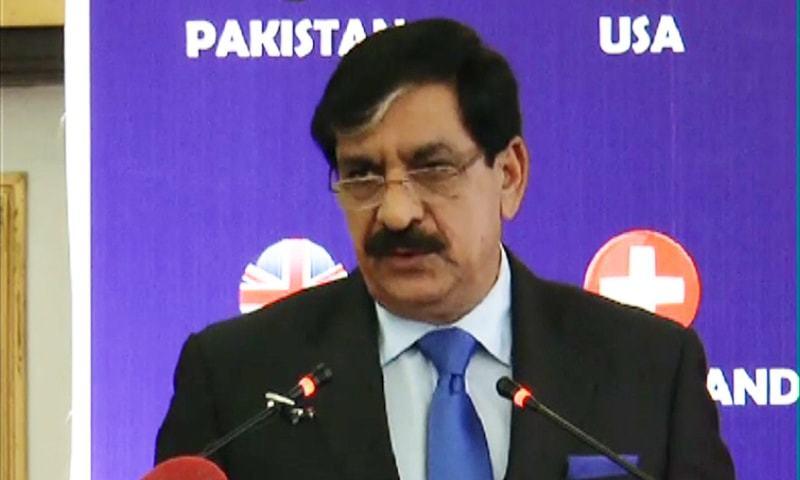 NSA Lt Gen Janjua addressing seminar in Islamabad. ─Mateen Haider