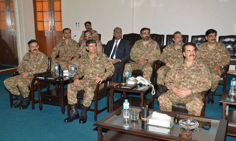 COAS along with Corps Commander Karachi, ISPR spokesperson Asim Bajwa and DG Rangers Major Bilal Akber during his visit to Karachi.─ ISPR