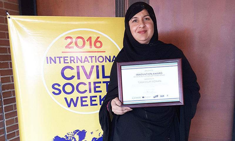 Tabassum Adnan winner of the Nelson Mandela – Graça Machel Innovation Award for the year 2016 in Individual Activist category. —Photo: CIVICUS Alliance