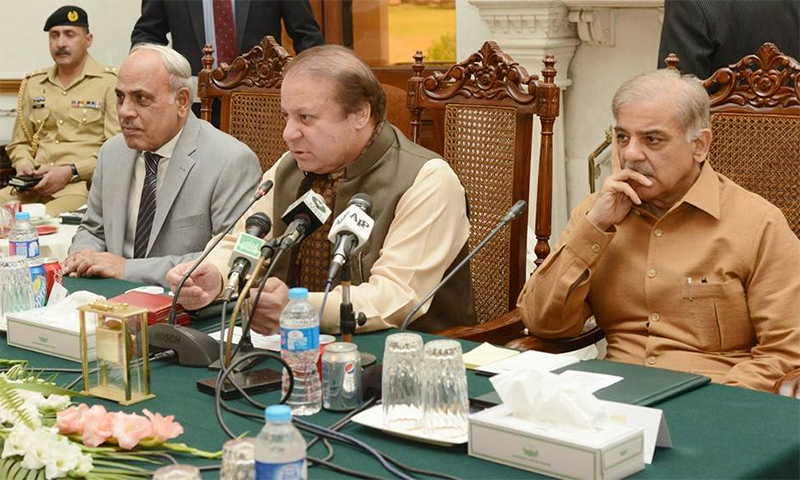 Punjab CM Shahbaz Sharif talking his post to Nawaz Sharif's left is a manifestation of just how crucial these times are.─PML-N Facebook page