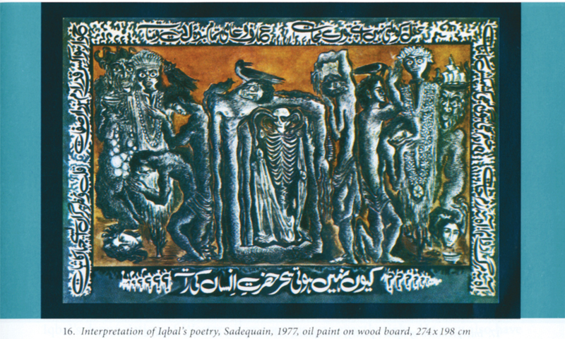 The above three paintings are interpretations of Iqbal's poetry by Sadequain. All three date back to 1977. -Photos from the book.