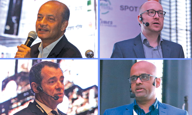 (Clockwise from top left) Sanat Hazra, Technical Director, The Times of India; Nikolay Malyarov, Chief Content Officer, PressReader; Parin Mehta, Head, Strategic Partnerships, Google; Geoff Booth, National Director, Production and Logistics, News Corp, Australia/ Photos: Rico Cruz and Camille Ante, Manila Bulletin.