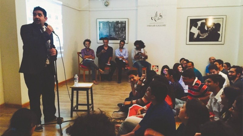 Shehzad Ghias, the comedian and host while beginning the insult comedy session at The Second Floor on Sunday —  Photo by author