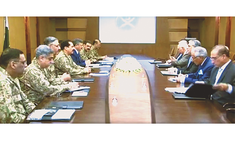 TOP military and civil leaders at a meeting convened by Army Chief Gen Raheel Sharif at the General Headquarters.