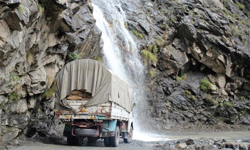 A waterfall on Kakakoram highway. —Dawn