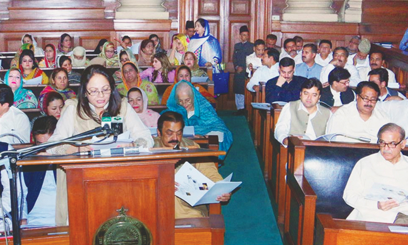 Punjab Minister for Finance Dr Ayesha Ghaus-Pasha presents the budget.—INP