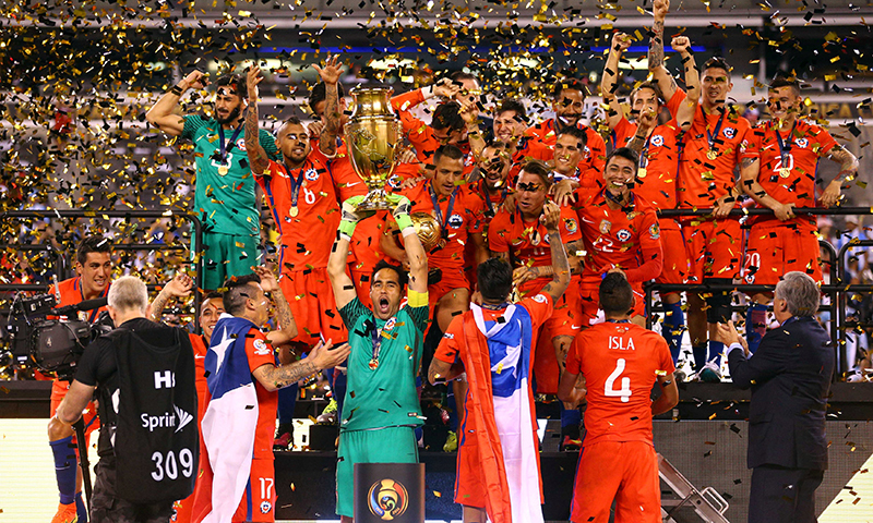 Chile celebrates after winning the championship match of the 2016 Copa America Centenario. — Reuters