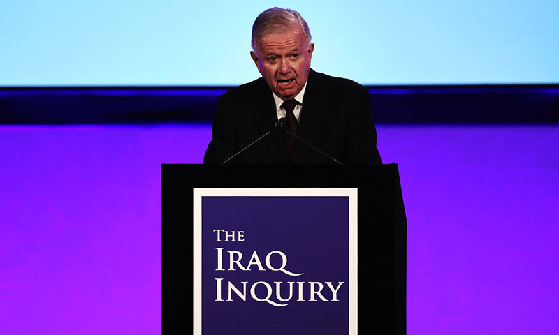 Iraq Inquiry chairman Sir John Chilcot speaks as he comments on the findings of his report, inside the QEII Centre in London. — AFP/File