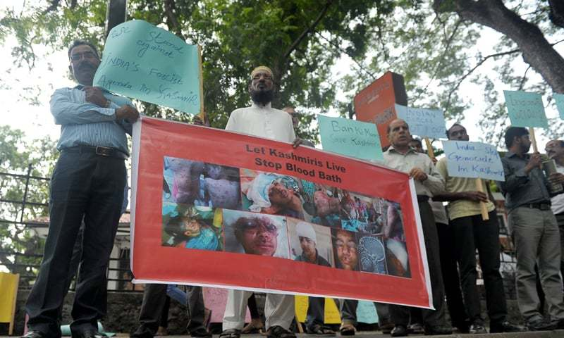 Colombo: Pakistanis in Sri Lanka protest against Indian atrocities in held Kashmir outside the United Nations office on Thursday. The protesters demanded UN intervention in the region.—AFP