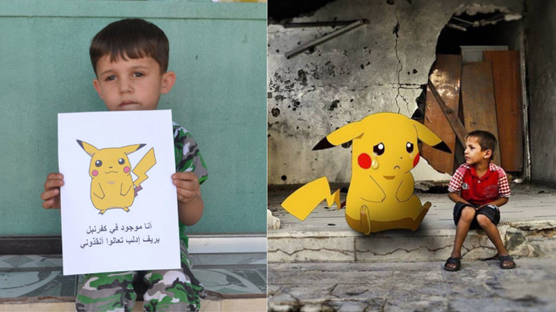 Syrian children raise placards with images of Pokemon in hopes that the world will come save them.