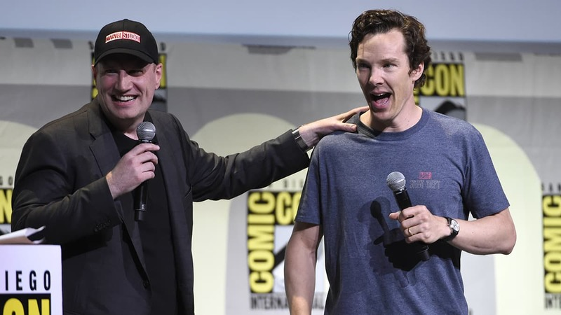 """President of Marvel Studios Kevin Feige, left, and actor Benedict Cumberbatch attend the """"Dr. Strange"""" panel on day 3 of Comic-Con International in San Diego.─AP"""