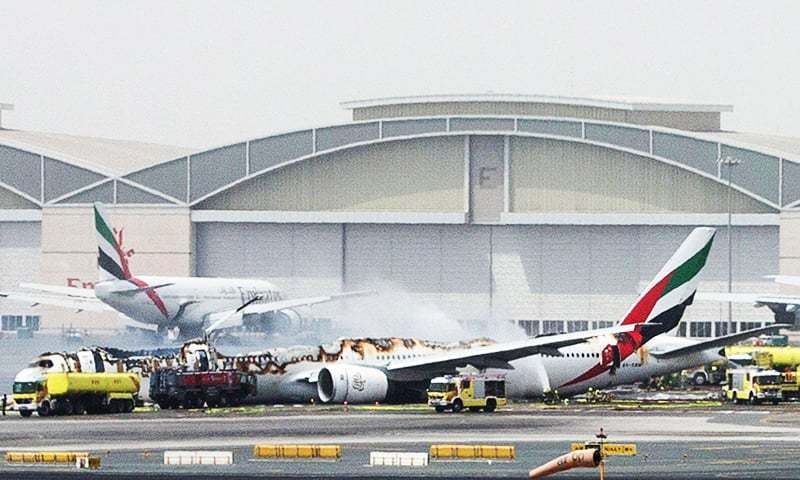 An Emirates Airline Flight Is Seen After It Crash Landed At Dubai International Airport