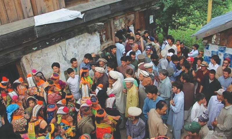 Kalash of Bumburet Valley in Chitral mourning their slain shepherds -Photo provided by the writer