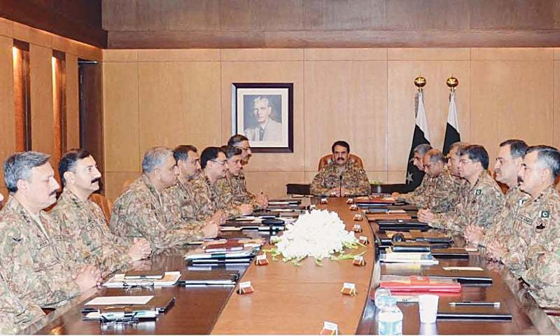 RAWALPINDI: Chief of Army Staff Gen Raheel Sharif presides over the corps commander conference at the General Headquarters on Tuesday.— APP