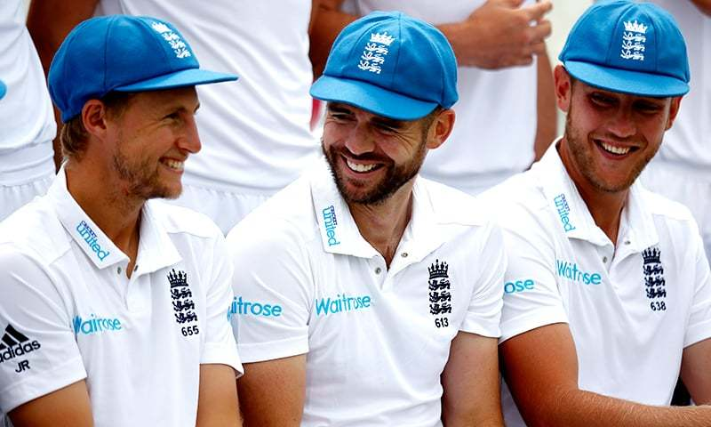 England's Joe Root, James Anderson and Stuart Broad share a joke during a team photocall. — Reuters