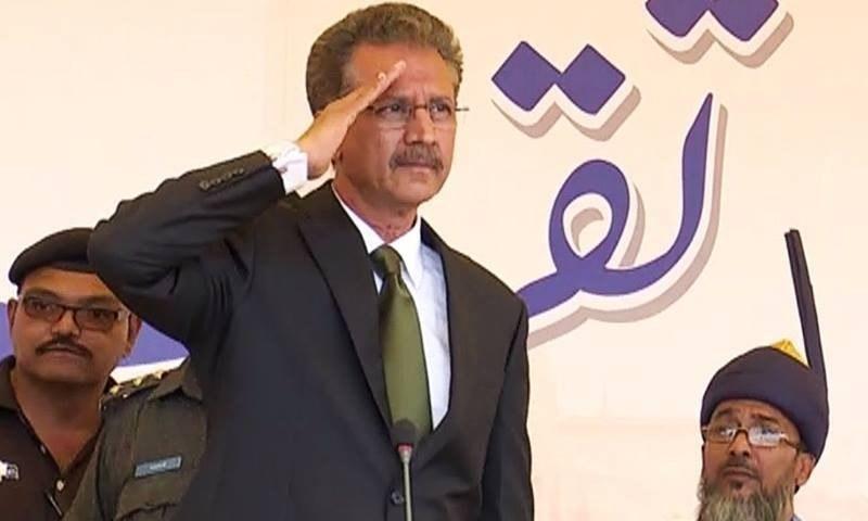 MQM's Waseem Akhtar at the oath taking ceremony. ─ DawnNews