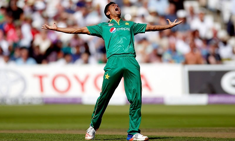 Hasan Ali celebrates Jason Roy's wicket.