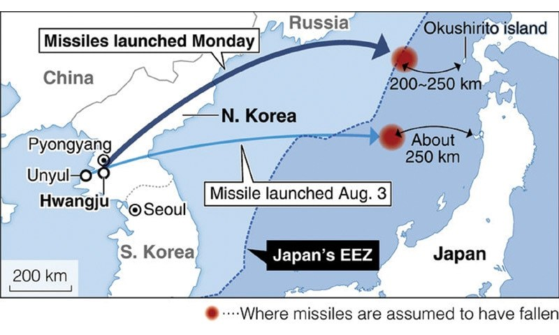 Provocative Trio Of North Korean Missiles Raises Japan Concerns - Japan map missile