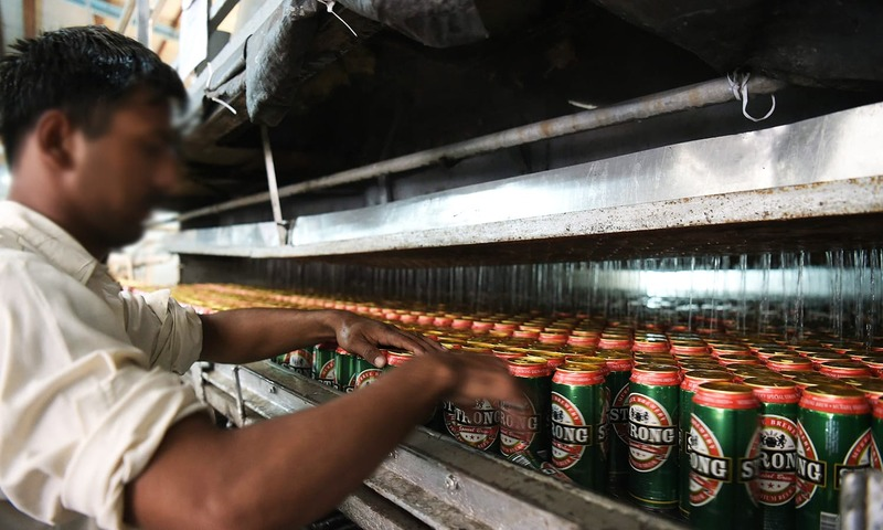 A worker at the Murree Brewery Company in Rawalpindi. — AFP
