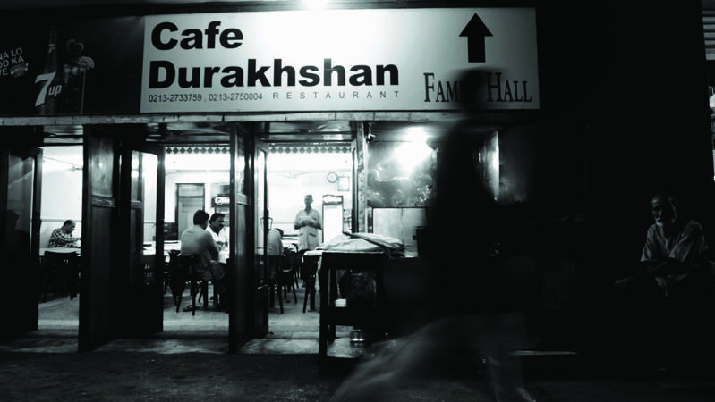 Café Durakhshan is located at the intersection of M.A. Jinnah Road and Zebunnisa Street. —Photo by  Tahir Jamal/White Star