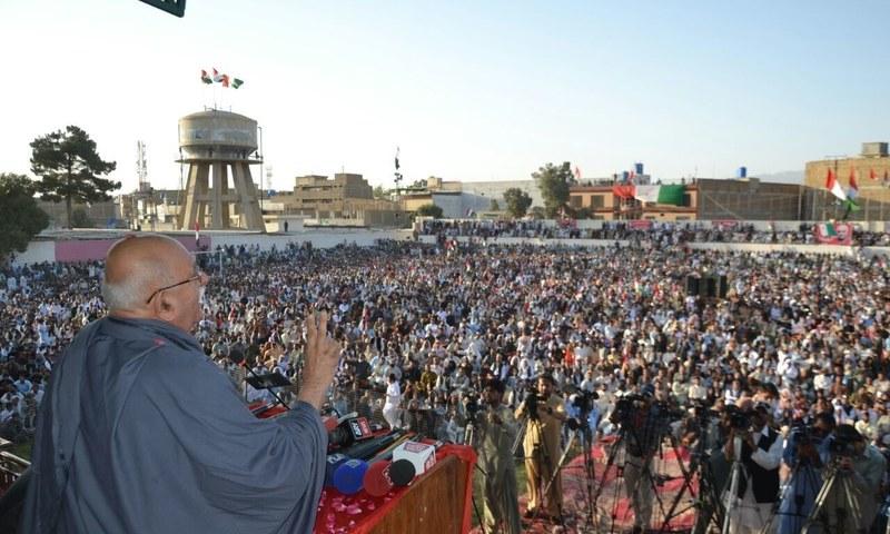 Mahmood Khan Achakzai addressing a public gathering in the memory of martyrs of Quetta carnage.—Asmatullah Khan Kakar