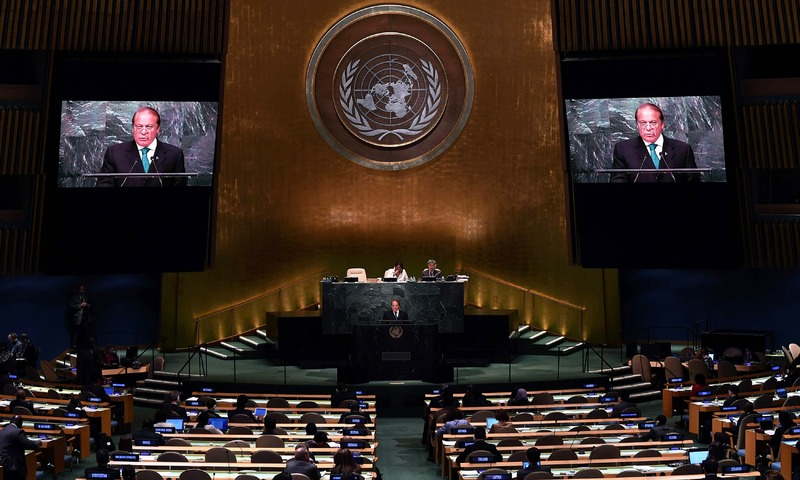 Nawaz Sharif addresses the 71st session of United Nations General Assembly at the UN headquarters in New York. —AFP