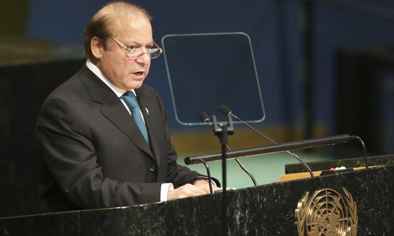 Nawaz Sharif speaks during the 71st session of the UNGA. —AP