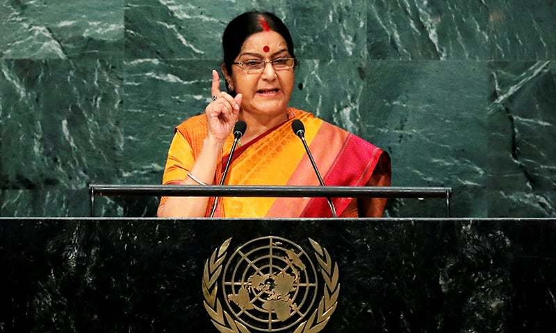 India's Minister of External Affairs Sushma Swaraj addresses the United Nations General Assembly. -Reuters