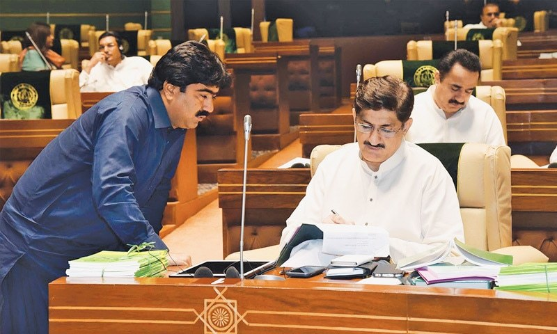 Sindh Chief Minister Syed Murad Ali Shah issues directives on a request of MPAs during the Sindh Assembly session on Friday.—PPI