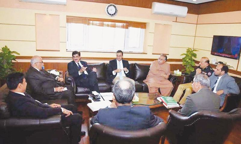 Sindh Chief Minister Syed Murad Ali Shah presides over the meeting held to review progress on implementation of the National Action Plan on Monday.—APP
