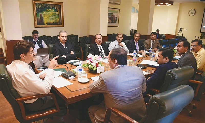 Sindh Chief Minister Syed Murad Ali Shah presides over a meeting on the CM Informative Management System at CM House on Wednesday.—PPI