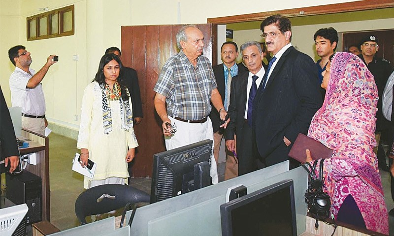 Sindh Chief Minister Syed Murad Ali Shah visits the computer section of the Khatoon-i-Pakistan Government Girls School on Thursday.—PPI