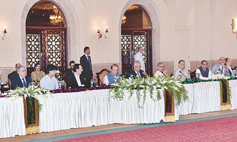 ISLAMABAD: Prime Minister Nawaz Sharif chairs a meeting of the PML-N's central working committee on Monday.—APP