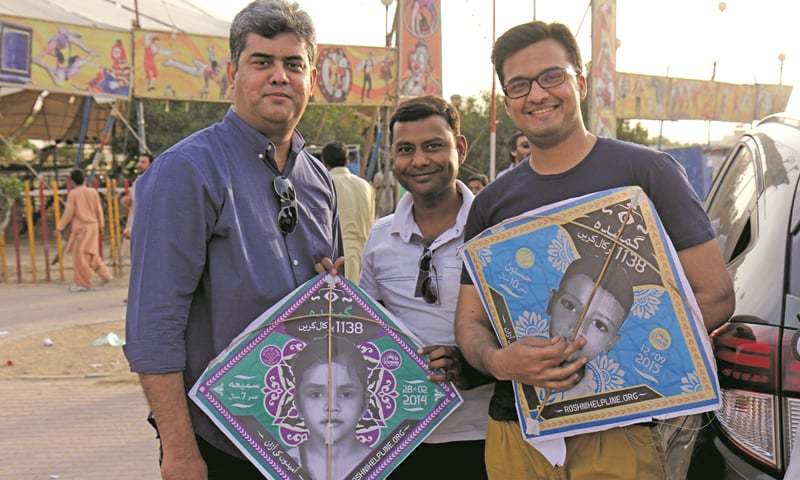 (L to R): Ferrukh Syed, Arsalan Ahmed and Faraz Ahmed of Spectrum Y&R at the 'Kites of Hope' event/  Photo: Muhammad Saeed.