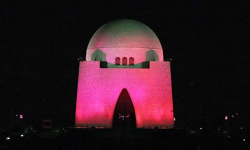 Mazar-i-Quaid illuminated pink in solidarity with breast cancer patients