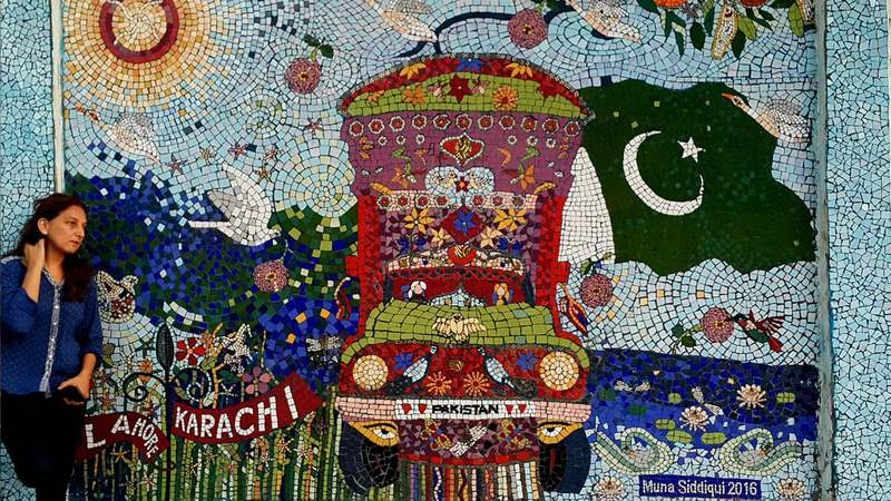 Shining, gleaming and glimmering in the morning light, Muna's mosaic depicts a truck and Pakistan's flag surrounded by nature. This harmonious pairing embodies a message, she explains, and no, it has nothing to do with truck art.