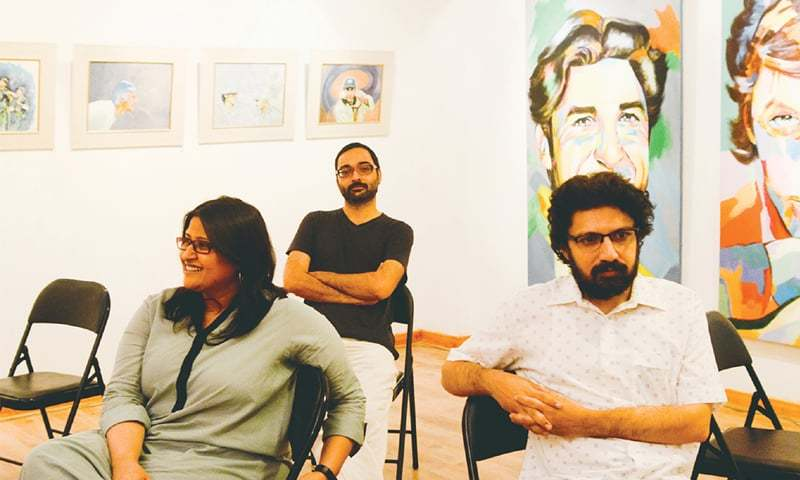 Directors Meenu Gaur and Farjad Nabi with producer Mazhar Zaidi in the background