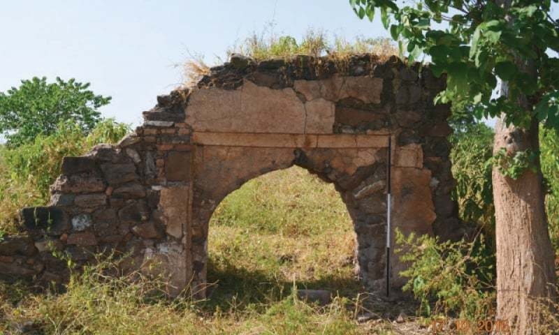 Remains of a Mughal-era mosque and a British-era memorial, similar to Nicholson's Monument, found in Kuri. — Courtesy Department of Archaeology