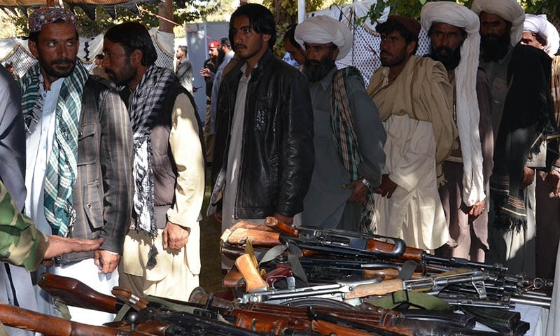 The suspected militants laid down their weapons under the Balochistan political reconciliation policy. —Asmatullah Kakar