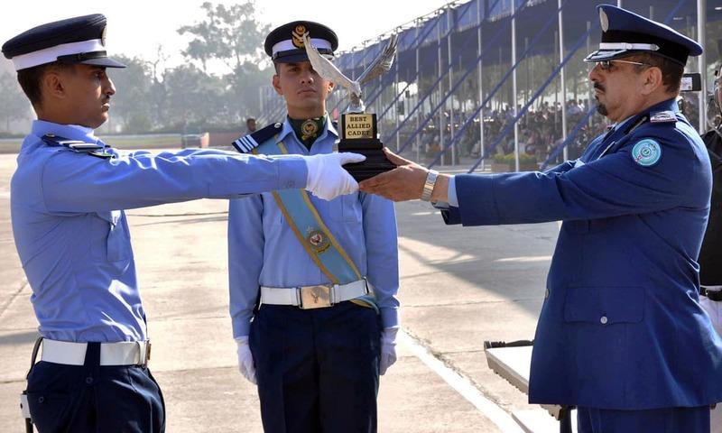 Commander Saudi Air Force Major General Mohammad Saleh Al Otaibi awarding best Allied Cadet Trophy to a Saudi cadet Mohammad Bin Khalid Al Malki. –Online