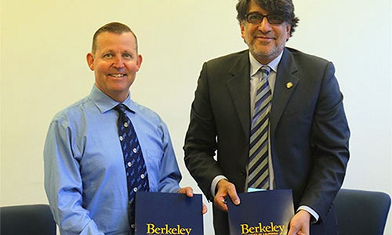 Officials of UC Berkeley and Habib University signing the MoU. ─Photo courtesy HU