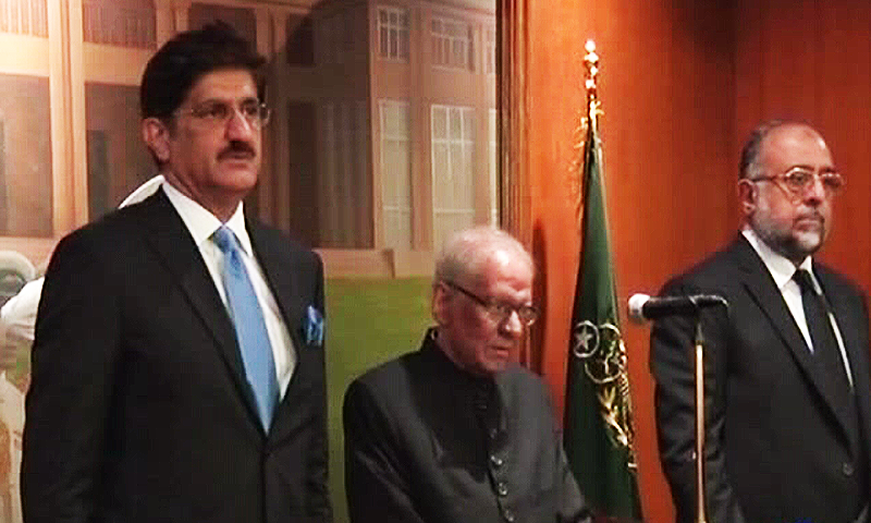 Sindh CM Murad Shah and Justice Saeed-uz-Zaman at Governor House. ─ DawnNews