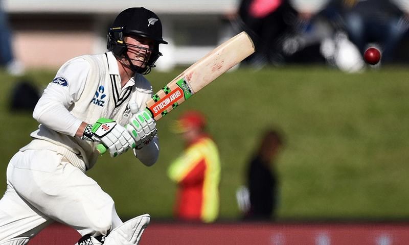 New Zealand's Henry Nicholls bats during day two of the first cricket Test match between New Zealand and Pakistan at the Hagley Park in Christchurch. ─ AFP