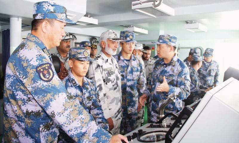 Chief of the Naval Staff Admiral Mohammad Zakaullah visits a Chinese navy ship to review the ongoing bilateral exercise.— INP
