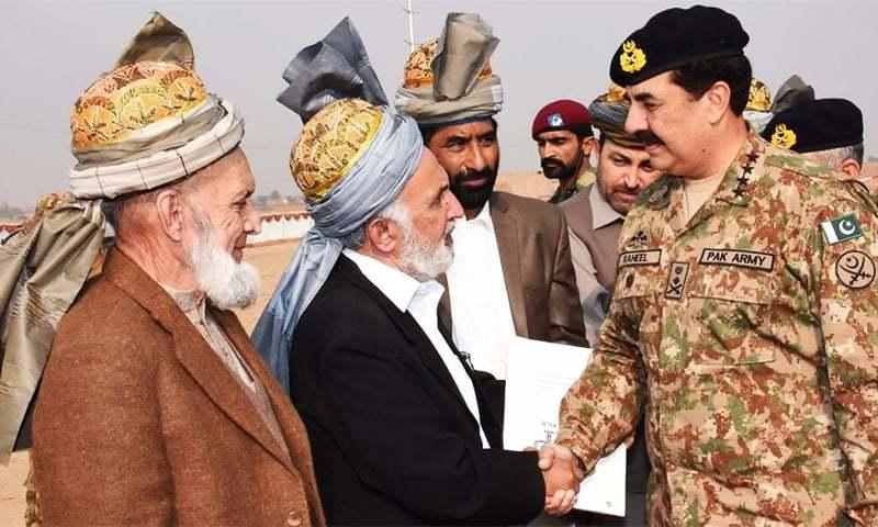 COAS Gen Raheel shakes hands with tribal elders. ─ Photo courtesy ISPR.