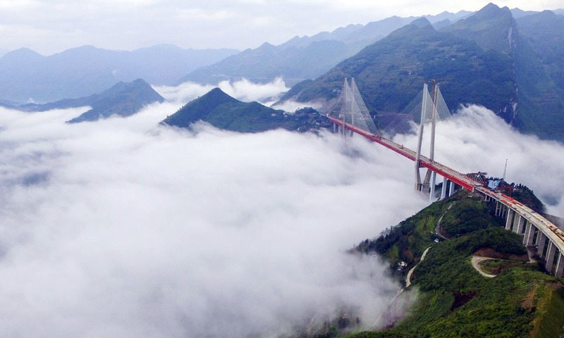 An aerial view of Beipanjiang Bridge across the Beipanjiang valley is seen in Shuicheng county in southwest China's Guizhou province. —AP