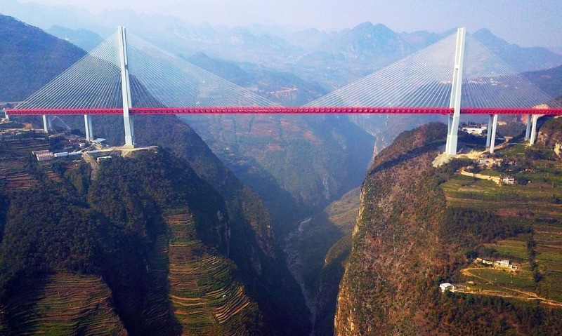 The Beipanjiang Bridge, near Bijie in southwest China's Guizhou province. —AFP