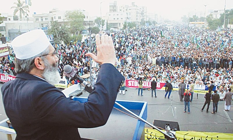 Jamaat-i-Islami chief Sirajul Haq speaks at the rally on Sunday.—Online